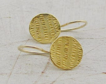 Fine Gold Earrings - 22k Solid Gold Earrings - Gold Wedding Earrings - Round Gold Earrings - Gold Coin Earrings
