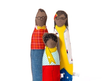 Family Portrait dolls - African Parents & boy dolls, primary colors handmade soft sculpture dolls 3-D family portrait ,look alike cloth doll