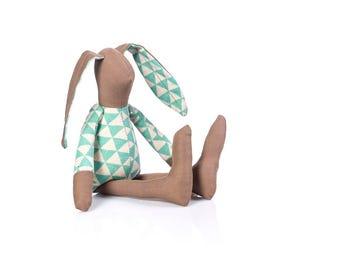 Small Bunny doll , Baby stuffed doll , rabbit doll , Newborn Doll , First doll , Modern Nursery , Easter Toy , Crib Nursery Decor , rag doll