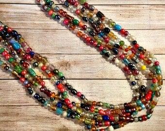 The Confetti Necklace | Multi Bead Statement Necklace | Multi Color Statement Necklace | Colorful Statement Necklace | Luster Bead Necklace