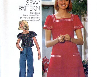 Simplicity 6508 Vintage 70s Sewing Pattern for Misses' Dress and Top - Uncut - Size 12 - Bust 34