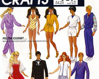 "McCall's Crafts 757 Sewing Pattern for Clothes for 11.5"" Barbie and Ken Dolls - Uncut"