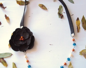Black Flower Necklace, Leather Jewelry, Black Pearl Necklace, Leather Flower, Chain Necklace, Statement, Copper, Blue, Nature Jewelry