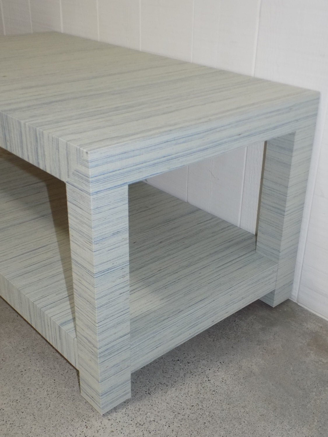 grasscloth coffee table/ cocktail table - custom built - design