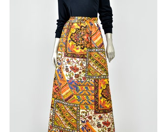 30% 0FF SALE 70s Maxi Skirt Quilted Patchwork Skirt Folk Skirt  Hippie Skirt Tribal Floral Print A Line 1970s Skirt Bohemian Skirt