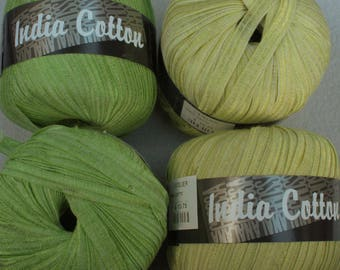 2 Colors Microfiber Cotton blend Ribbon Yarn India Cotton by Lana Grossa in Green and Yellow