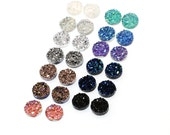 26pcs 12mm Faux Druzy Sampler, Faux Crystal Clusters Cabochons Chunky BIG Nuggets