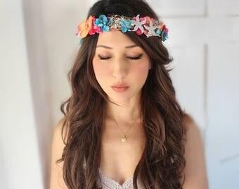 Beach bridal headband, Beach, Romantic Flower Crown, Ivory Wedding Flower Headband, hair flower, blue,