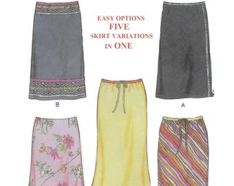 New Look 6084 Misses' Skirt Sewing Pattern in Five  Variations Size 8 to 18 Waist 24 to 32 Hips 33 1/2 to 42
