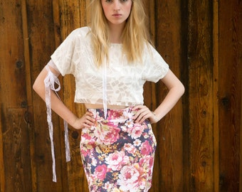 SALE High Waisted Hot Pink Floral Skirt with Asymmetrical Hem