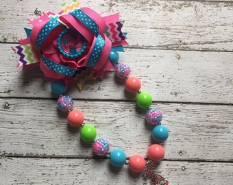 Trolls Poppy Bubblegum Necklace, Trolls Poppy Hair Bow, Girls Chunky Necklace and Hair Bow ,Bubblegum Chunky Necklace, Poppy