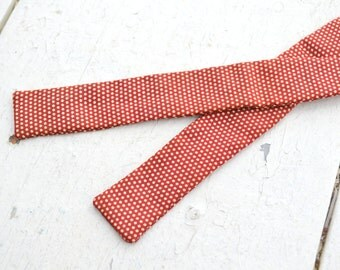1950s Red Dotted Silk Skinny Bow Tie