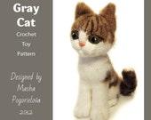 Grey Cat - pdf crochet toy pattern (amigurumi kitten pattern)