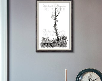 Tangled Tree Illustration- Giclee Fine Art Print - Pen and Ink Illustration - Ivy and Tree Drawing - Artist Rachael Caringella