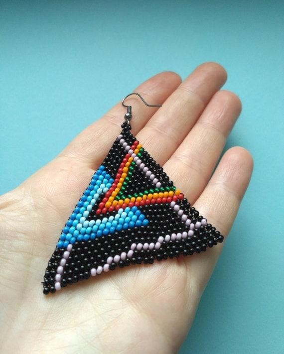 Sale15%.Pink Floyd.Geometric earrings.Triangle earrings.Beadwoven Earings.Dangle Earrings.Seed beads earrings.Long earrings.Black earrings