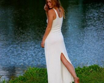 Tank Style Maxi Dress with High Back Slit - Natural Color Hemp Organic Cotton Jersey - Boho Wedding