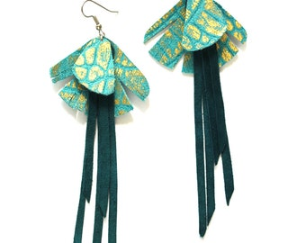 Crocodile Textured Gold and Turquoise Leather Earrings with Long Fringe