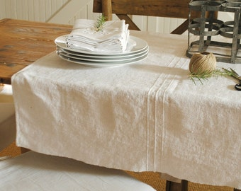 French monogram hemp linen tablecloth - R L monogram - red embroidery