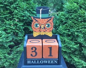 Halloween, Countdown, Primitive, Folk Art, Calendar, Owl, Wood, Blocks, Candy Countdown, Weeks, Days, Black Cat