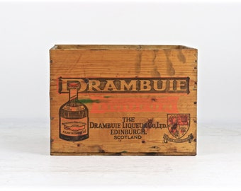 Vintage Drambuie Liquor Crate Vintage Wooden Crate, Wood Crate Drambuie Crate Wooden Box Liquor Wood Crate Alcohol Wood Crate, Industrial