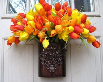 Easter Wreath, Spring Wreath, Tulip Wreath, Door Wreath, Outdoor Wreath, Orange Wreath, Floral Wreath, Spring Decoration