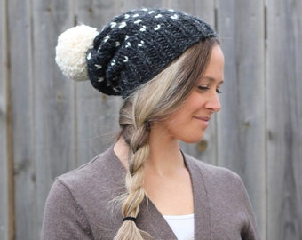 Woman's Heart Fair Isle Knitted Slouchy Hat in Charcoal Grey with Off White Pom Pom