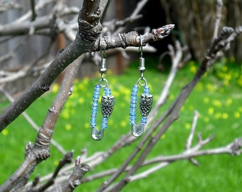 Owl Safety Pin Earrings