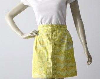 vintage Pucci mini skirt, yellow print skirt