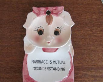"""Vintage 60's Pink Pig """"Marriage is Mutal Misunderstanding"""" Ceramic Wall Hanging - Japan - Collectible  - 60's Kitchen - Knick Knack"""
