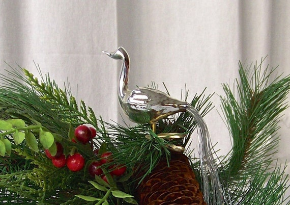 Vintage silver clip on bird christmas ornament by