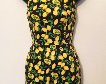 Vintage 1950s inspired lemons stretch cotton playsuit romper XS S only VLV