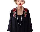 Kimono Flapper Jacket Floral Black Red Flower Lace Cardigan Boho festival Cape Fringes short kimono Artistic Outerwear Tassel High Fashion