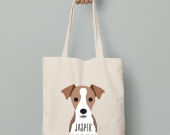 Personalized Jack Russell canvas tote bag, custom jack russell tote bag