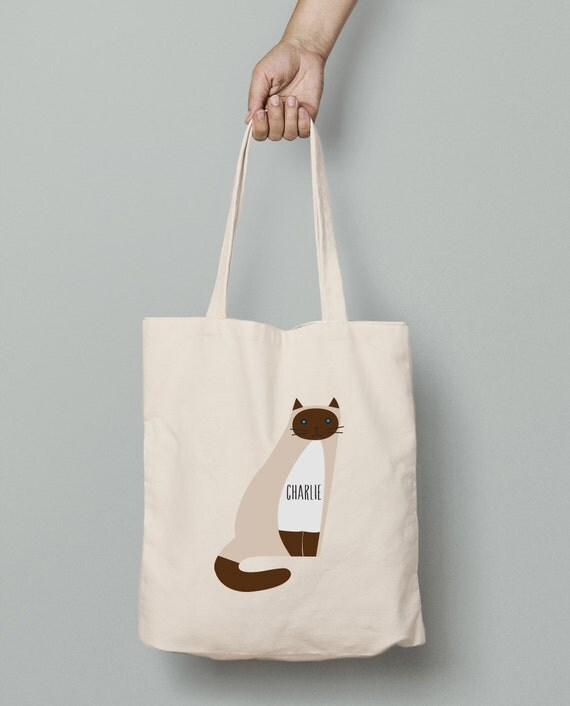 Personalized Siamese tote, custom Siamese canvas tote bag