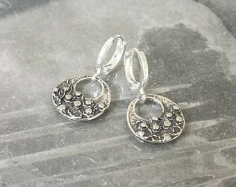 Small Silver Textured Open Disc Earrings