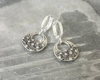 Small Silver Textured Disc Earrings