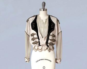 RARE!! 1910s Blouse / Incredible Military Inspired Masculine/Feminine Edwardian Bodice  / Epaulettes / Metallic Details / Lace / Petal Hem