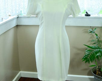 Vintage White 80's Dress Low-Back Dress by CDC Evening - M