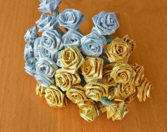 Silver and Gold Ribbon Flowers on Wires, New Old Stock, Vintage Craft Flowers, Millinery Roses, Craft Stems, Wired Roses