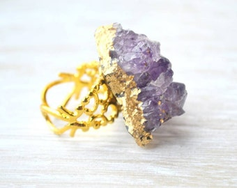 Bohemian Ring, Amethyst Cluster Ring, Purple Stone Ring, Druzy Jewelry