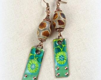 Green Charm Earrings - Artisan Enamel Charm Earrings, Giraffe Agate Beads - Green Casual Earrings - Artisan Boho Earrings, Green Earrings