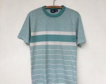 SALE Vintage Striped Heather Teal & White T Shirt 50/50 M