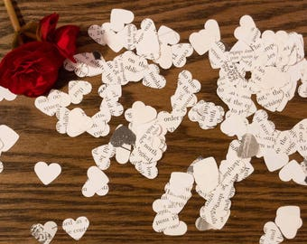 Bookish Hearts | Vintage Book Confetti / Table Confetti | Hearts | great for wedding, engagement, bridal shower, birthday, anniversary