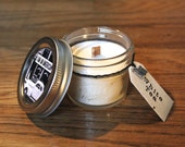 White Tea 4 oz. Soy Candle - Plantable Wildflower Seed Tag - Soy Wax - Wood Wick Candle - Vintage Americana - Crackling Candle