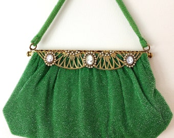 Antique Green and Gold Glass Beaded Evening Purse Made in France