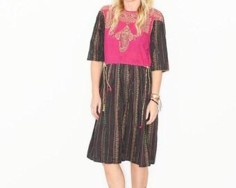 Vintage Afghan Dess , Ethnic Embroidered Dress , BOHO Tribal Dress