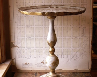 Vintage Italian Side Table - Gilded Florentine Style Accent Table, Drinks Tray