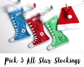 Personalized Christmas Stocking set of 3: PICK 3 - all star stockings- 12 colors to choose from