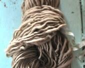 Yarn, Handspun, Super Bulky, Thick n Thin, Oatmeal, Beige, Plain, Neutral, Hand Dyed, Wool, Knitting, Crochet Supplies, Yospun