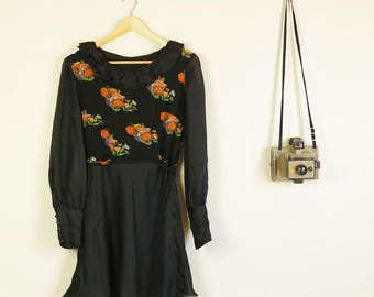 Vintage 70s Black with Orange Flowers Mini Dress Cute Summer with Puffy Sleeves and Button Detail VG